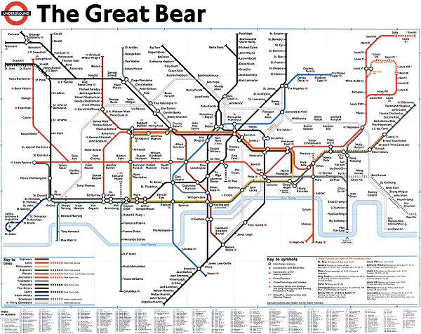 Unusual London Map, Alternative London tube map, unusual metro map, The great bear tube map